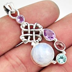 925 sterling silver 11.71cts natural rainbow moonstone amethyst pendant d43284