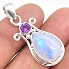 925 sterling silver 10.78cts natural rainbow moonstone amethyst pendant r63967