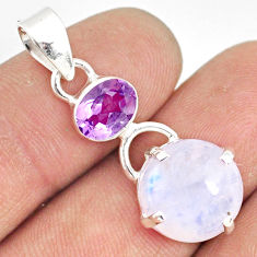 925 sterling silver 9.65cts natural rainbow moonstone amethyst pendant r77424