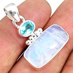 925 sterling silver 10.31cts natural rainbow moonstone blue topaz pendant r69258