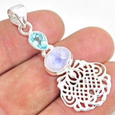 925 sterling silver 4.02cts natural rainbow moonstone blue topaz pendant r81384