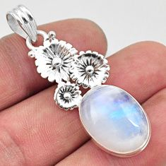 Clearance Sale- 925 sterling silver 14.23cts natural rainbow moonstone flower pendant d43414