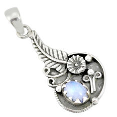 925 sterling silver 2.08cts natural rainbow moonstone flower pendant r77859