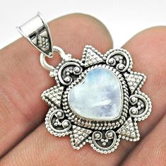 925 sterling silver 4.82cts natural rainbow moonstone heart pendant t56044