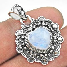 925 sterling silver 5.38cts natural rainbow moonstone heart pendant t56114