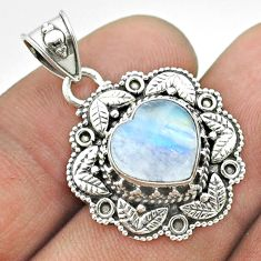 925 sterling silver 5.15cts natural rainbow moonstone heart pendant t56153