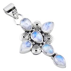 925 sterling silver 9.54cts natural rainbow moonstone holy cross pendant r55799