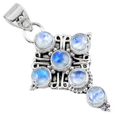 925 sterling silver 5.63cts natural rainbow moonstone holy cross pendant r55839
