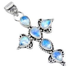 925 sterling silver 6.58cts natural rainbow moonstone holy cross pendant r55879