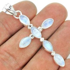 925 sterling silver 9.33cts natural rainbow moonstone holy cross pendant t52872