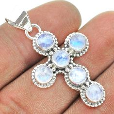 925 sterling silver 5.84cts natural rainbow moonstone holy cross pendant t52874