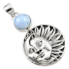 925 sterling silver 5.38cts natural rainbow moonstone moon face pendant r52820