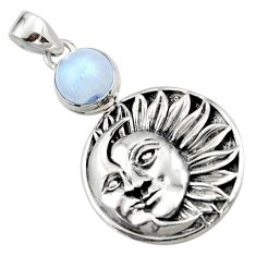 925 sterling silver 5.10cts natural rainbow moonstone moon face pendant r52859