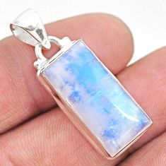 925 sterling silver 12.85cts natural rainbow moonstone octagan pendant t23760