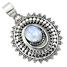 925 sterling silver 4.23cts natural rainbow moonstone oval pendant r47095