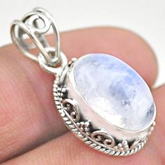 925 sterling silver 6.26cts natural rainbow moonstone oval pendant t46718