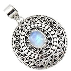 925 sterling silver 4.30cts natural rainbow moonstone oval shape pendant r47075