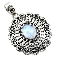 925 sterling silver 4.13cts natural rainbow moonstone oval shape pendant r47098