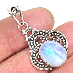 925 sterling silver 5.03cts natural rainbow moonstone oval shape pendant r93968
