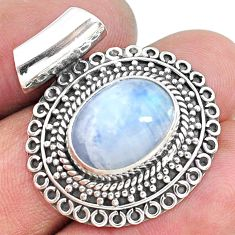 925 sterling silver 7.84cts natural rainbow moonstone oval shape pendant t10658
