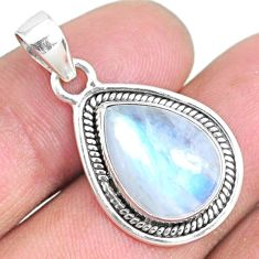 925 sterling silver 9.53cts natural rainbow moonstone pear pendant r74177