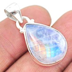 925 sterling silver 12.58cts natural rainbow moonstone pear pendant t23757