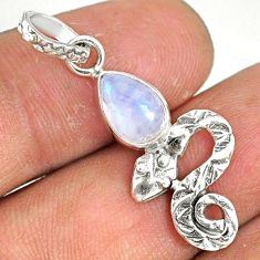 925 sterling silver 2.53cts natural rainbow moonstone pear snake pendant r78456