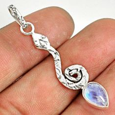 925 sterling silver 2.50cts natural rainbow moonstone pear snake pendant r78498