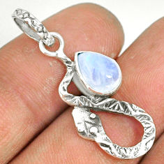 925 sterling silver 2.36cts natural rainbow moonstone pear snake pendant r78539