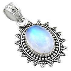 925 sterling silver 6.04cts natural rainbow moonstone pendant jewelry r53155