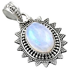 925 sterling silver 6.36cts natural rainbow moonstone pendant jewelry r53159