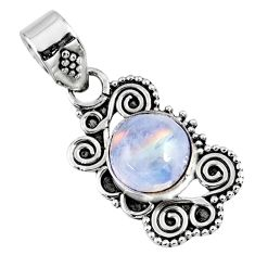 925 sterling silver 3.17cts natural rainbow moonstone pendant jewelry r57738