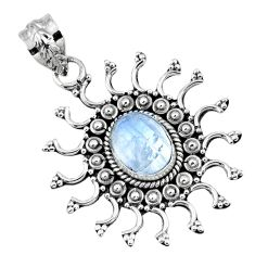 925 sterling silver 3.19cts natural rainbow moonstone pendant jewelry r57778