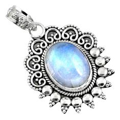 925 sterling silver 5.81cts natural rainbow moonstone pendant jewelry r57819