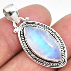 925 sterling silver 9.12cts natural rainbow moonstone pendant jewelry r63828