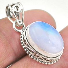 925 sterling silver 6.76cts natural rainbow moonstone pendant jewelry t46754
