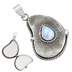 925 sterling silver 3.06cts natural rainbow moonstone poison box pendant r30640