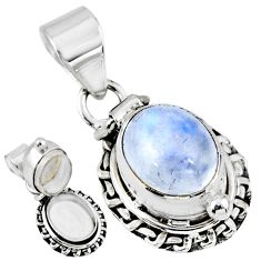 925 sterling silver 5.30cts natural rainbow moonstone poison box pendant r55677