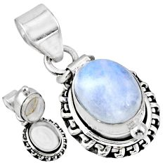 925 sterling silver 5.41cts natural rainbow moonstone poison box pendant r55680