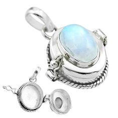 925 sterling silver 4.35cts natural rainbow moonstone poison box pendant t52689