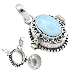 925 sterling silver 4.21cts natural rainbow moonstone poison box pendant t52692