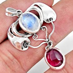925 sterling silver 6.58cts natural rainbow moonstone red garnet pendant r26354