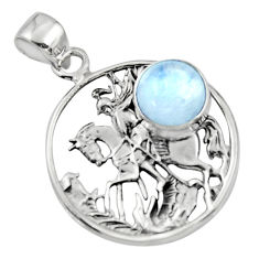925 sterling silver 4.59cts natural rainbow moonstone unicorn pendant r52778