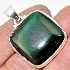925 sterling silver 26.70cts natural rainbow obsidian eye pendant jewelry d42438