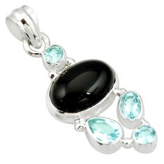 925 sterling silver 11.19cts natural rainbow obsidian eye topaz pendant r20895