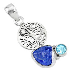 925 sterling silver 5.79cts natural raw tanzanite rough topaz pendant r74049