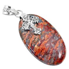 925 sterling silver 32.10cts natural red birds eye oval cross pendant r74523