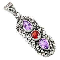 Clearance Sale- 925 sterling silver 4.22cts natural red garnet amethyst pendant jewelry d39226
