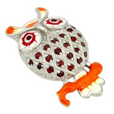 925 sterling silver natural red garnet enamel owl pendant jewelry c16927
