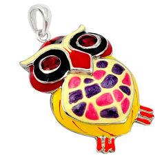 925 sterling silver natural red garnet enamel owl pendant jewelry c16922
